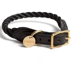 FOUND MY ANIMAL black rope/leather collar …